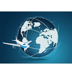 Airliner with globe vector