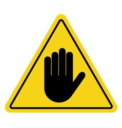 Stop sign hand on yellow vector
