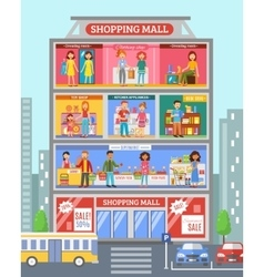 Shopping Center Desingn Flat Banner vector image