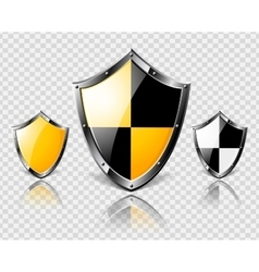 Set of steel shields on transparent background vector