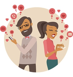 Couple sending love messages using smartphones vector