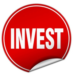 Invest round red sticker isolated on white vector