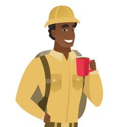 african-american traveler holding cup of coffee vector image vector image