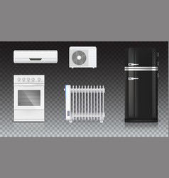 Air conditioning electric oil radiator vector