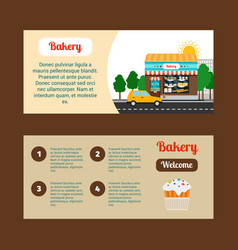 Bakery horizontal flyers with shop building vector
