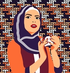 Beautiful muslim woman drinking coffee vector