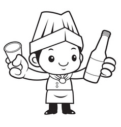 Black and white cook mascot holding a distilled vector