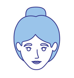 Blue silhouette of woman with collected hair vector