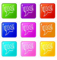 Boo comic text speech bubble icons 9 set vector