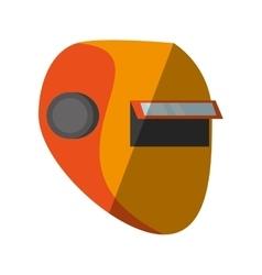 Cartoon yellow welder mask eyes security sign vector