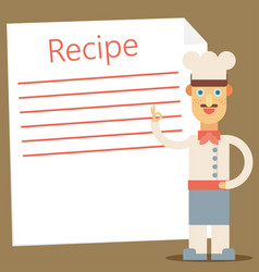 Chef presenting recipe card flat vector