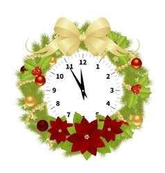 Christmas adorned clock vector