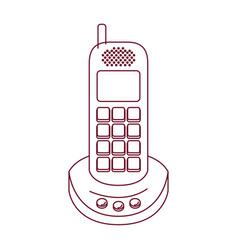 Dark red line contour of cordless phone vector
