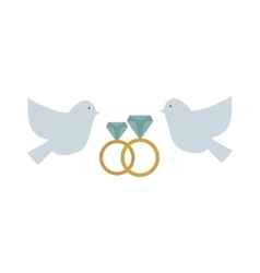Doves couple with hearts icon vector