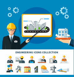engineering pictograms collection background vector image