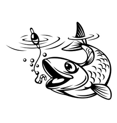Fish oh hook vector image vector image