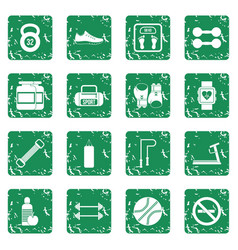 Gym icons set grunge vector