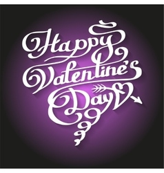 Happy Valentines Day lettering in heart vector image