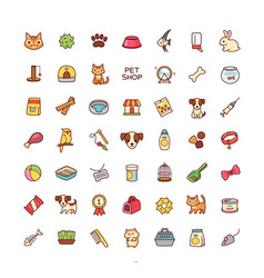 Icons pet shop vector