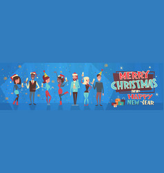 People celebrate merry christmas and happy new vector