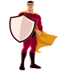 Superhero holding shield vector