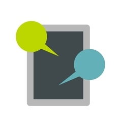 Tablet and speech bubble icon flat style vector image vector image