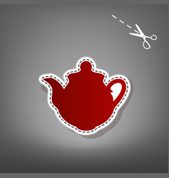 Tea maker sign red icon with for applique vector