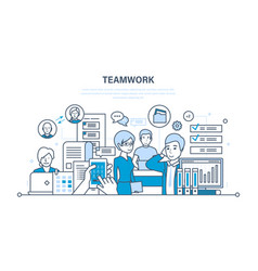 teamwork communication dialogues workflow space vector image vector image