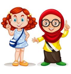 Two girls pointing finger up vector