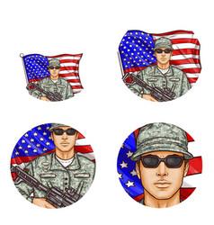 Us flag soldier pop art avatar icons vector