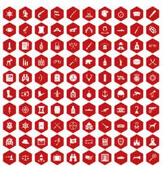 100 guns icons hexagon red vector