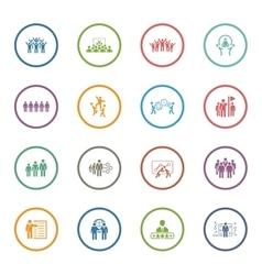 Flat Design Business Team Icons Set vector image