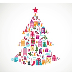 abstract christmas tree with cute icons and design vector image