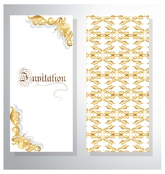 Invitation card with golden ornament vector