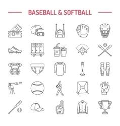 Baseball softball sport game line icons vector