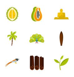 Culture features of sri lanka icons set flat style vector