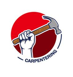 hand grab hammer carpentering badge vector image