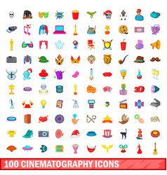 100 cinematography icons set cartoon style vector