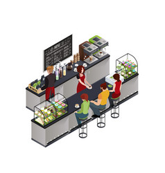 hipster coffee bar isometric poster vector image