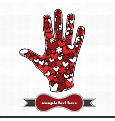 Hearts and flowers on the handprint vector