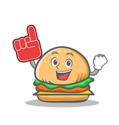 Foam finger burger character fast food vector