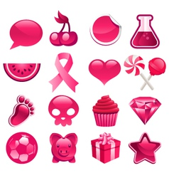 Various pink icons vector