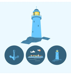Set icon with lighthouse anchor container ship vector