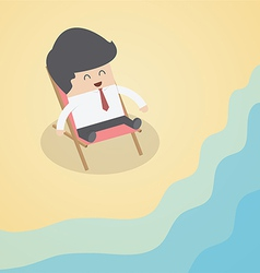 Businessman relaxing on the beach vector