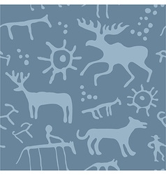 Cave art seamless pattern vector image