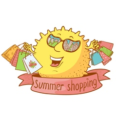 Sun character shopping vector