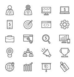 Seo development icons line vector