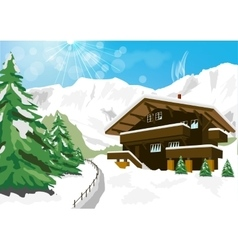 Winter scenery with snow chalet and mountains vector