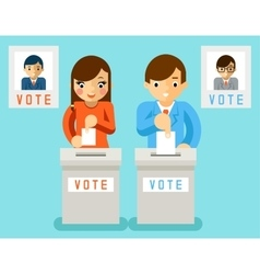 People vote for candidates of different parties vector