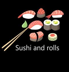 Delicious japanese sushi and rolls vector